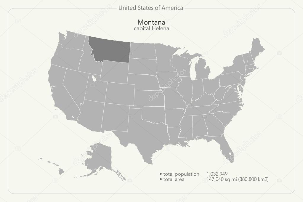 United States Of America Isolated Map And Montana State Territory - Montana us map