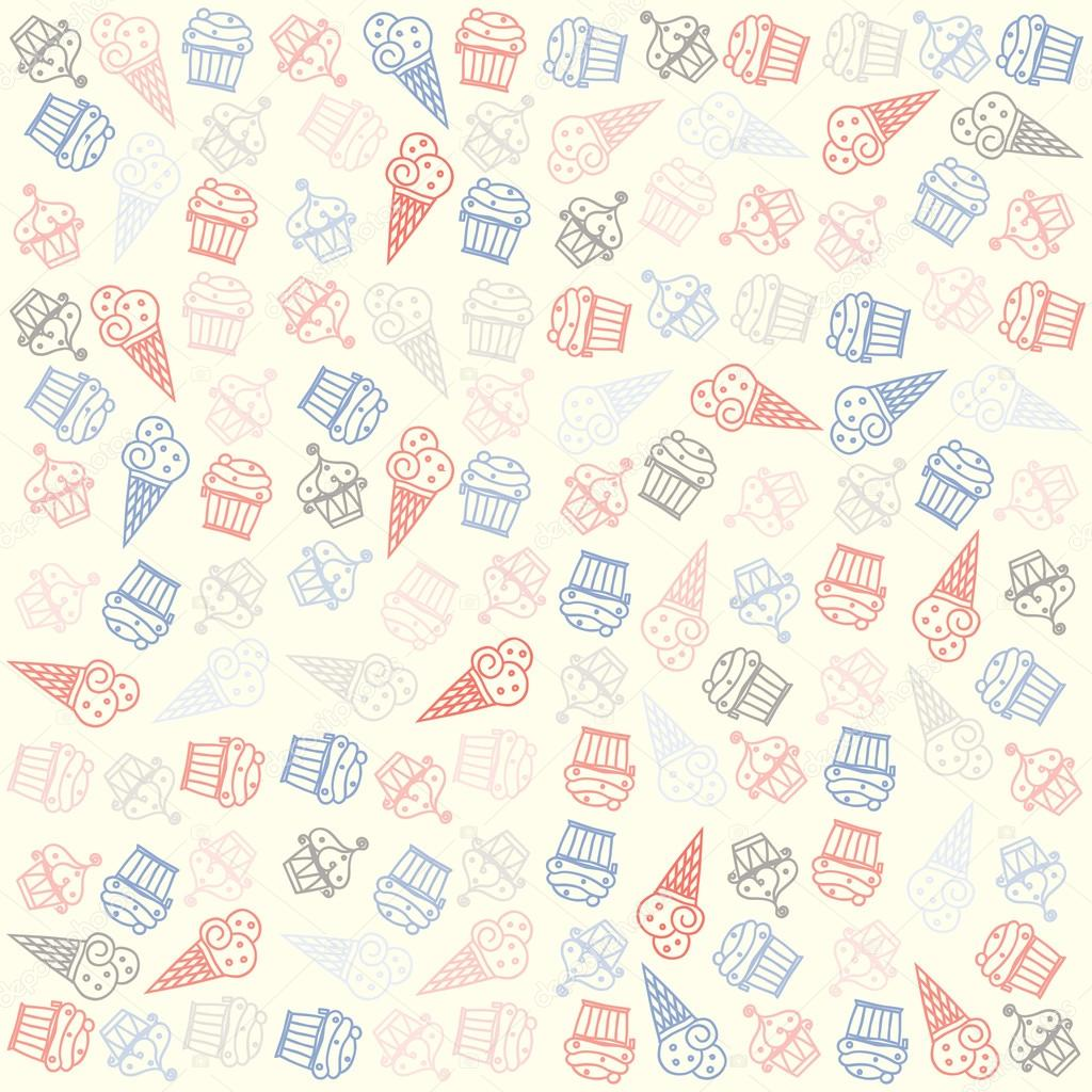 Hand Drawn Ice Cream And Muffin Seamless Pattern Vector Cone Cupcakes Background Vintage Style Bakery Desserts Cakes Wallpaper Birthday