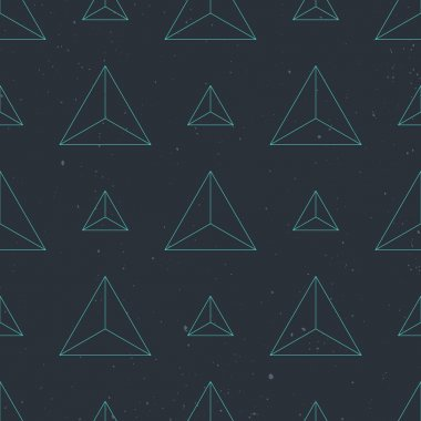 seamless pattern with blue, thin line triangles over paper texture. vector decorative background design. abstract, geometric, grunge wallpaper