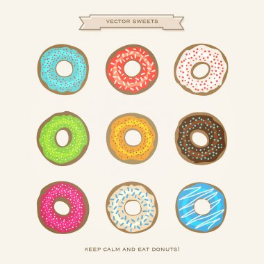 set of colorful donuts isolated on white paper background. vector glazed doughnut icons. cartoon style breakfast cake design. cafe decorative menu icons