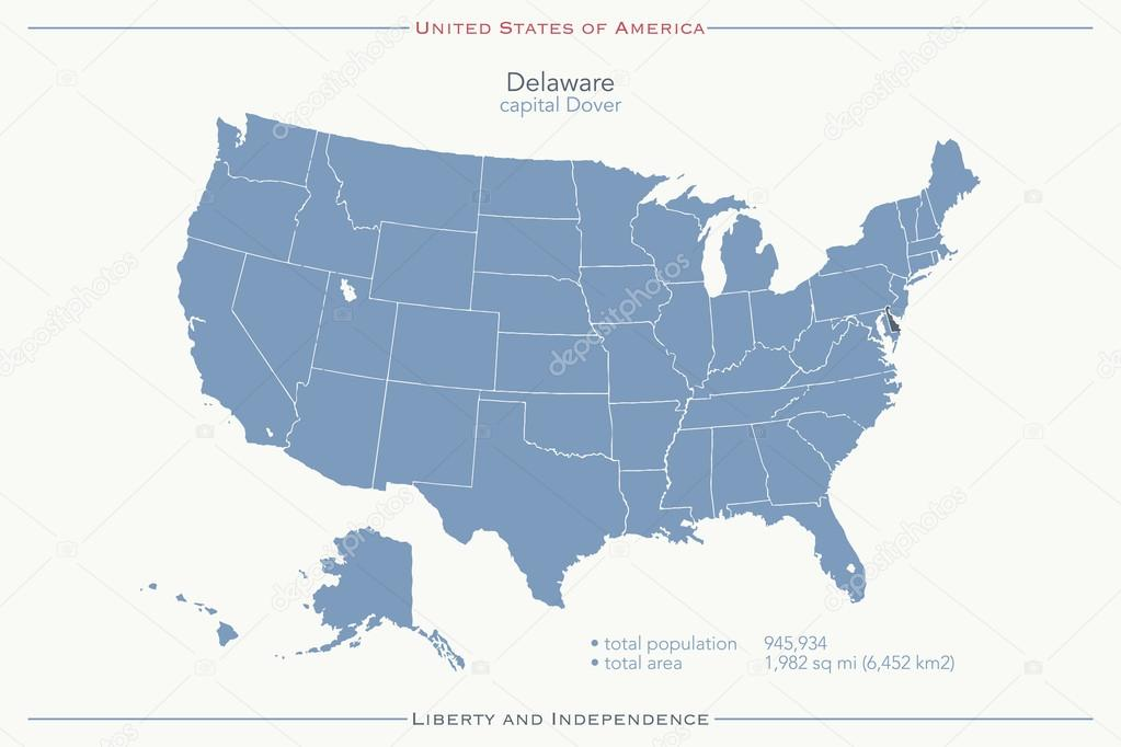 United States of America isolated map and Delaware state ...