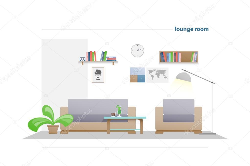 Moderne woonkamer met meubilair geïsoleerd op een witte