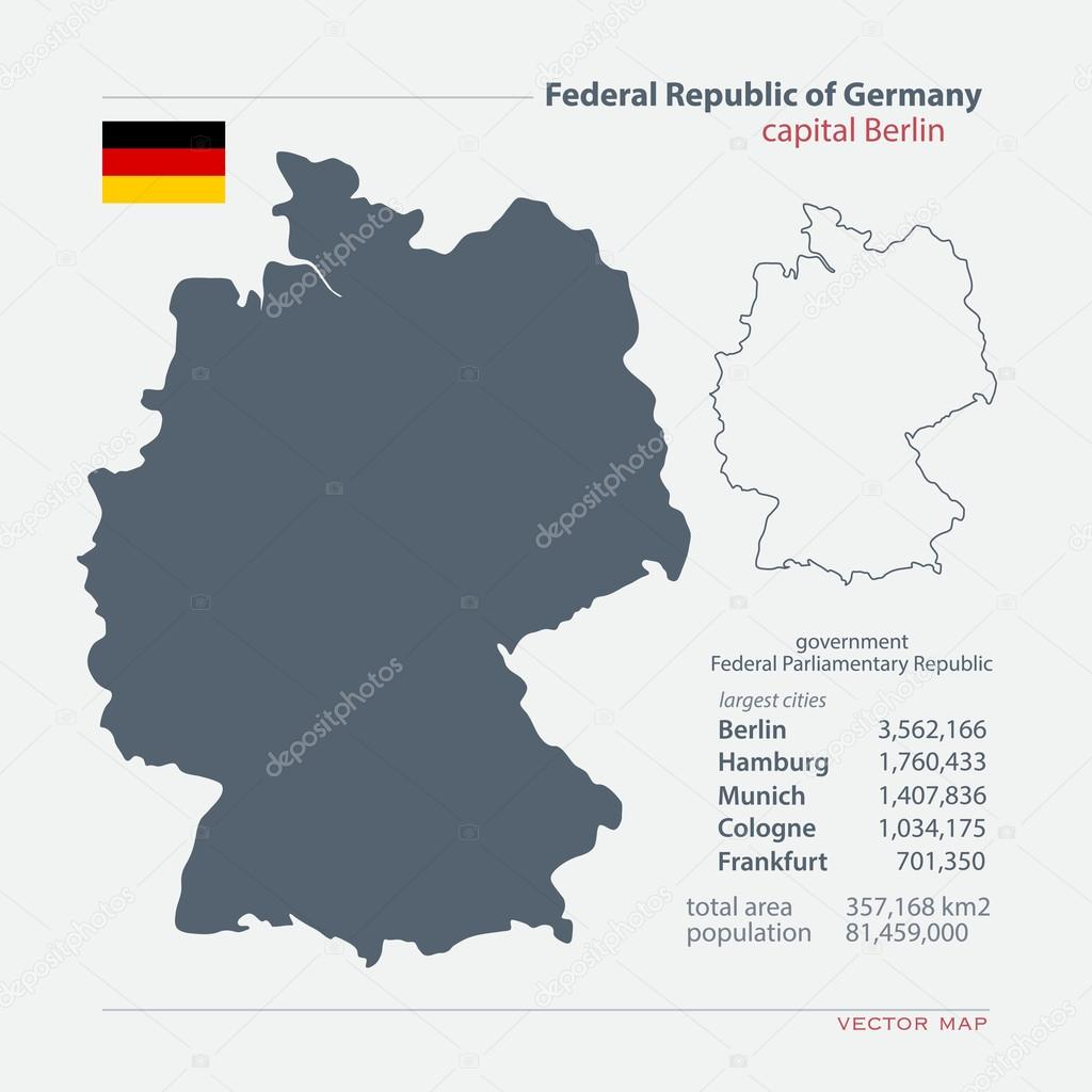 federal republic of germany isolated maps and official flag icon vector german political map icons with general information european state geographic