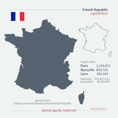 French Republic map and official flag icon over dark background. vector France political map 3d illustration. European State geographic banner template. Republique Francaise vector
