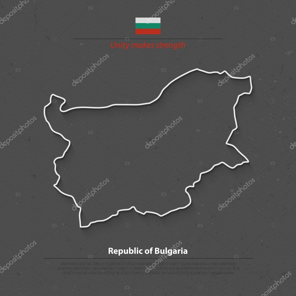 Republic Of Bulgaria Map And Official Flag Over Grunge Background