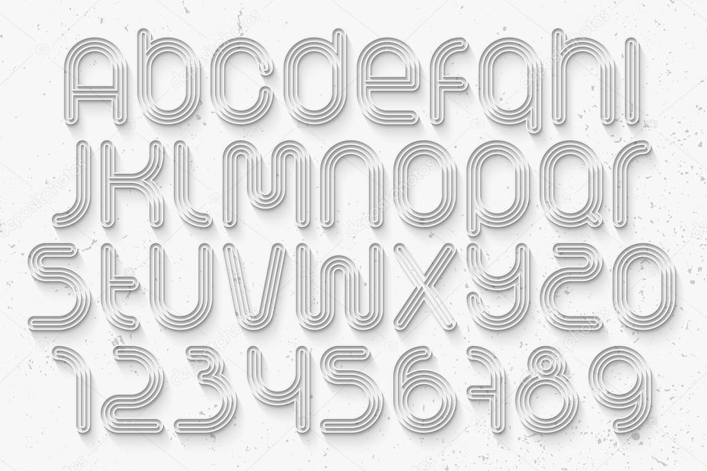 Set of sport style alphabet letters and numbers over white set of sport style alphabet letters and numbers over white background vector 3d font type design running track concept typesetting thin line and long expocarfo