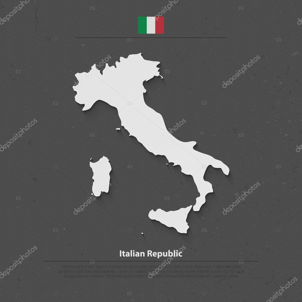 Italian republic isolated map and official flag icons vector italy italian republic isolated map and official flag icons vector italy political map 3d style illustration gumiabroncs Images