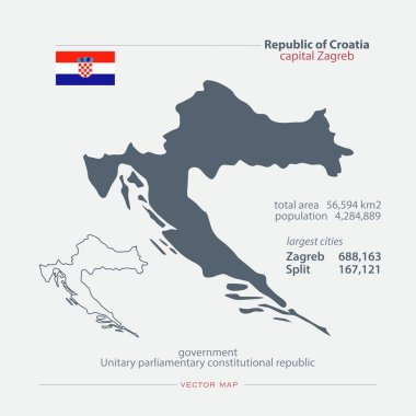 Republic of Croatia isolated maps and official flag icon. vector Croatian political map icons with general information. European country geographic banner template