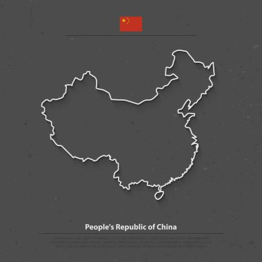 People's Republic of China isolated map and official flag icons. vector Chinese political map thin line illustration. Asian country geographic banner design. travel and business concept map
