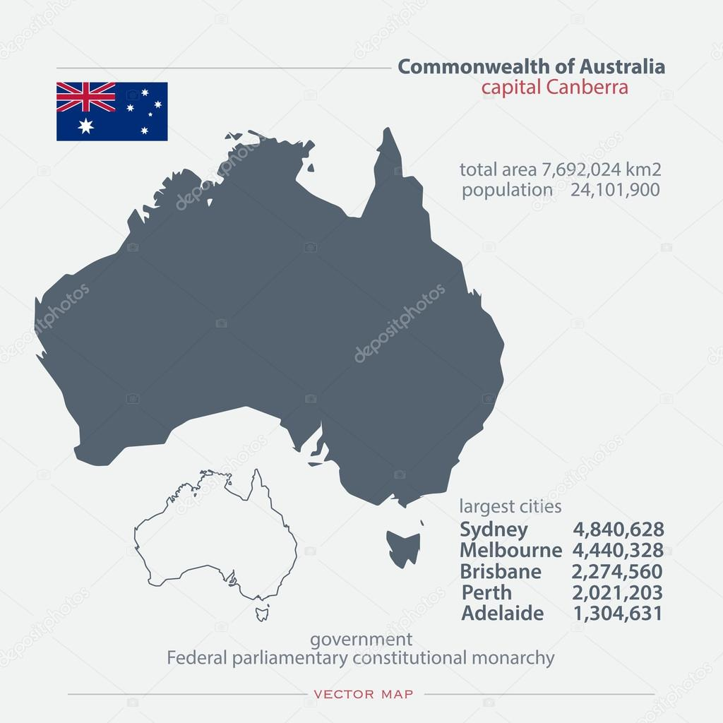 commonwealth of australia isolated maps and official flag icon vector australian political map icons with
