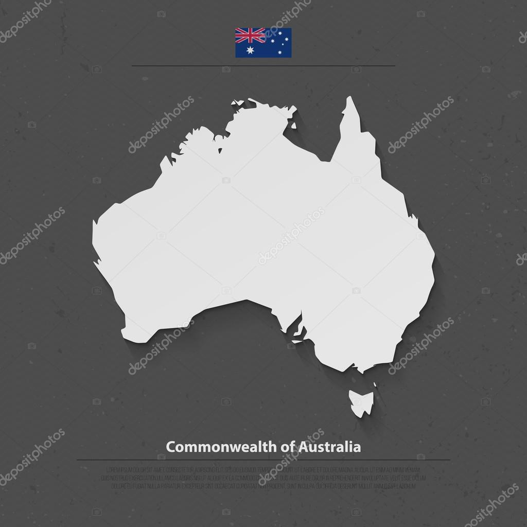 commonwealth of australia isolated map and official flag icons vector australian political continent 3d illustration map aussie geographic banner