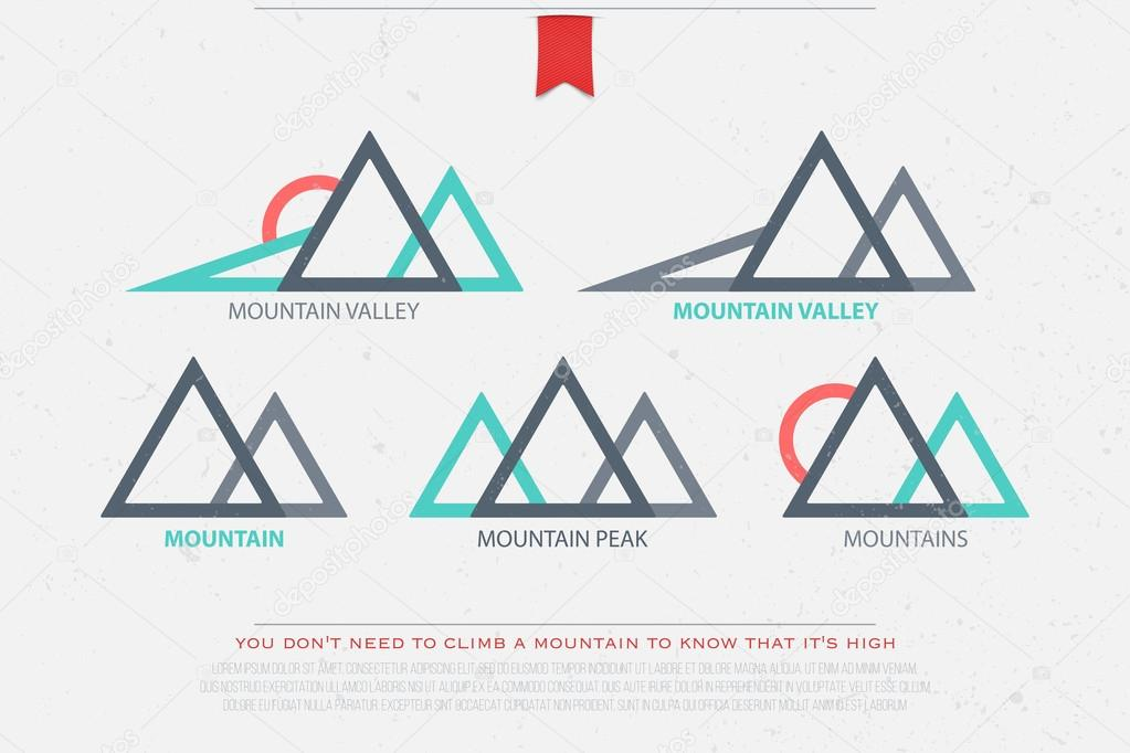 set of abstract high mountains vector icons. travel and rock climbing concept logo. landscape graphic design. mountain valley logotype. vector montain peak symbol over grunge background