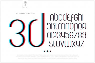 round 3d effect alphabet letters and numbers on white background. vector font type design. distortion lettering icons. stylized glitch text typesetting. distorted vision typography template