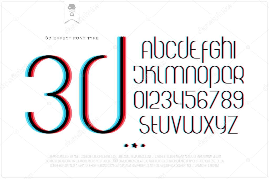 Round D Effect Alphabet Letters And Numbers On White Background - 3d letters template