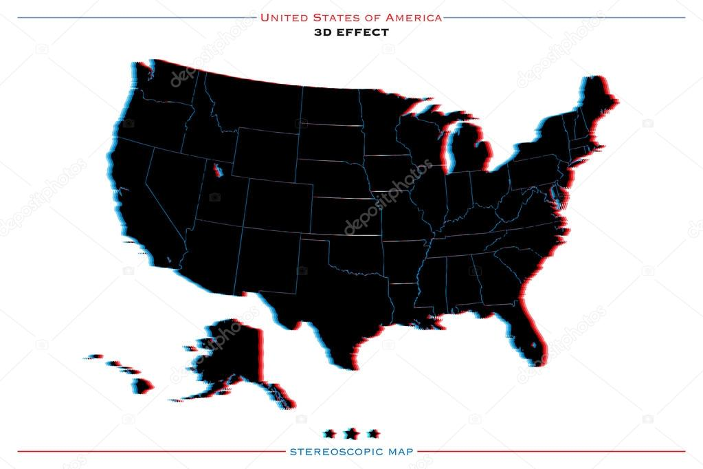 stereoscopic effect united states of america isolated map vector usa territory political map geographic