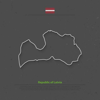 Republic of Latvia isolated map and official flag icons. vector Latvian political thin line map over black background. European Union country geographic banner template