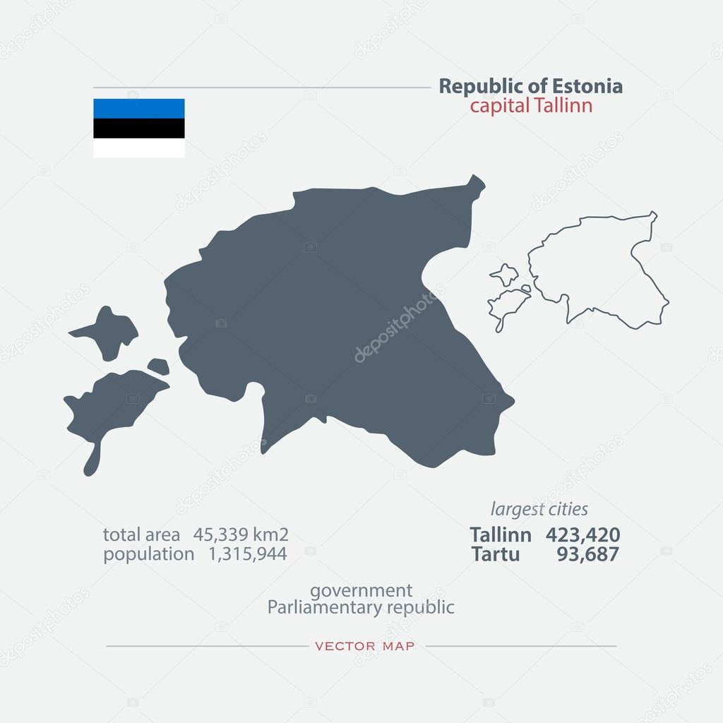 Republic of Estonia isolated maps and official flag icon vector