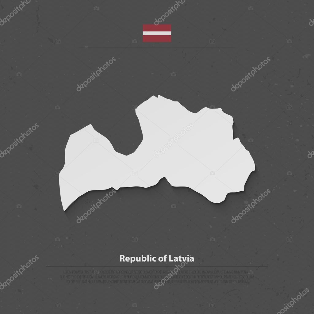Republic of Latvia isolated map and official flag icons vector