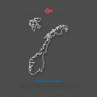 Kingdom of Norway isolated map and official flag icons. vector Norwegian political map thin line icon. Scandinavian Country geographic banner template. travel and business concept maps