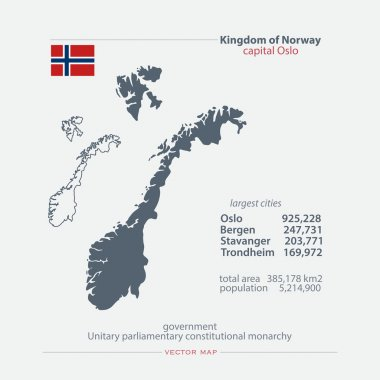 Kingdom of Norway isolated maps and official flag icon. vector Norwegian political map icons with general information. Nordic Country geographic banner template. travel and business concept map