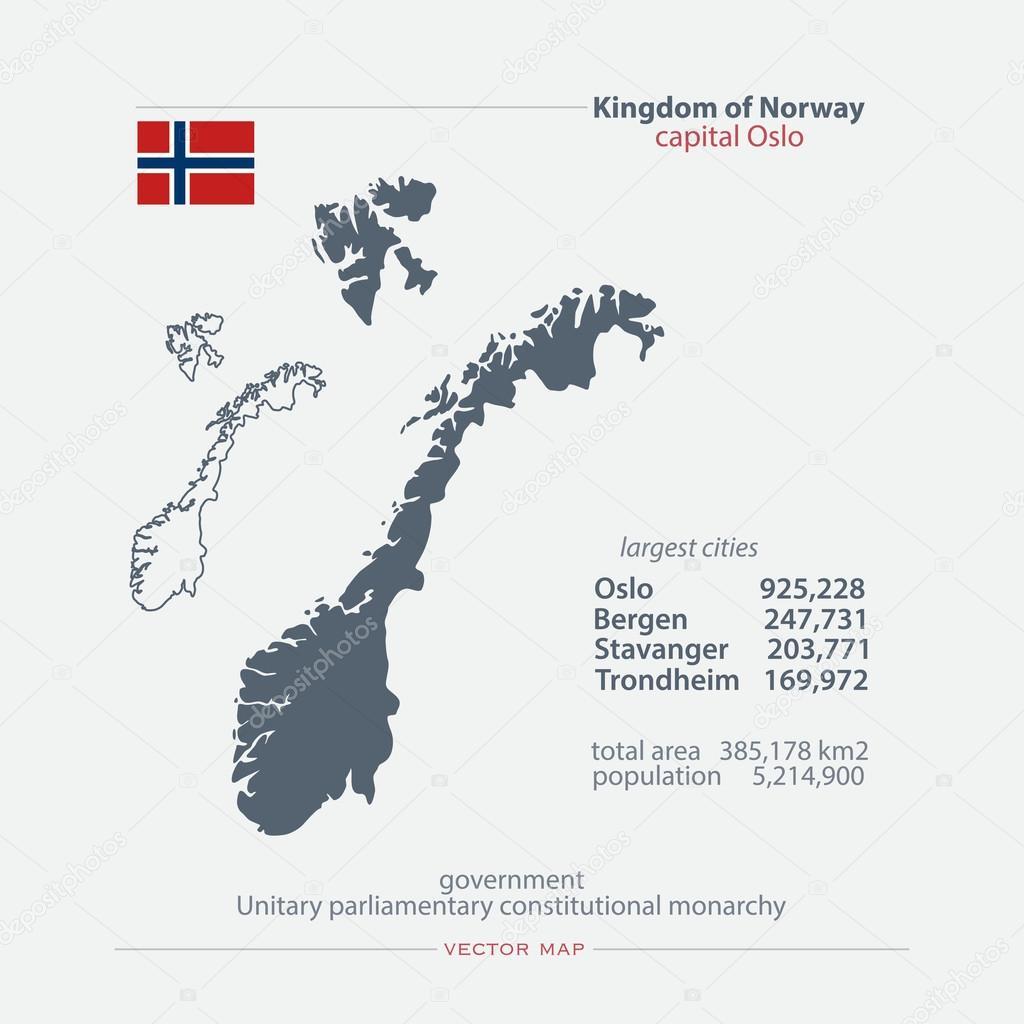 Karta Norge Stavanger.Norge Isolerade Kartor Och Officiella Flaggikonen Vektor Norska