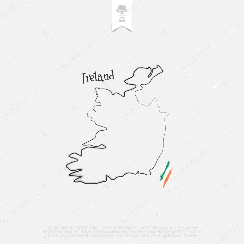 Outline Map Of Ireland.Republic Of Ireland Outline Map And Official Colors Over Paper