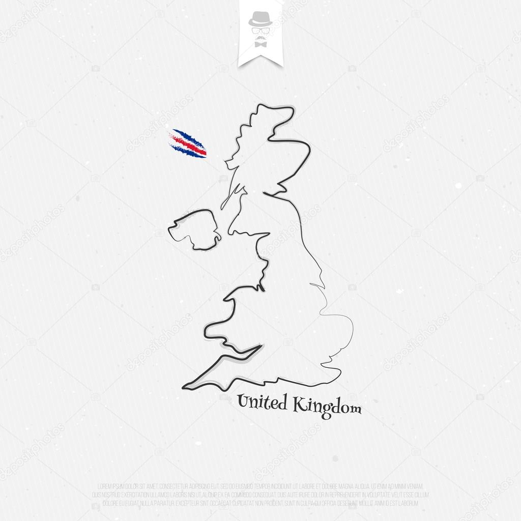 Map Of Uk Template.United Kingdom Of Great Britain And Northern Ireland Outline Map