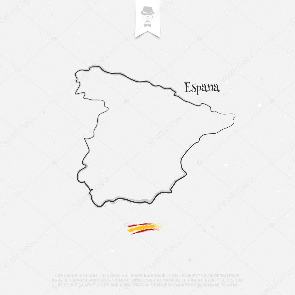 Kingdom of Spain outline map and official colors over paper ...