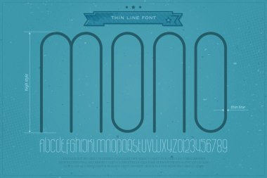 set of fine contour alphabet letters and numbers over blue paper texture. vector light font type design. thin line lettering icons. contemporary, subtle, high text typesetting. slim typeface template