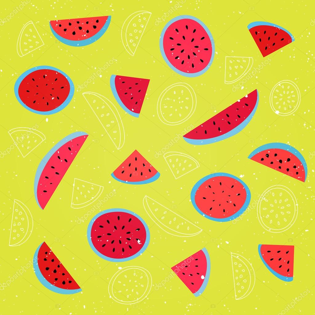 Seamless Pattern With Ripe Watermelon Symbol Over Yellow Background Vector Textile Print Ornament Fashion Grunge Wallpaper Cool Design Abstract