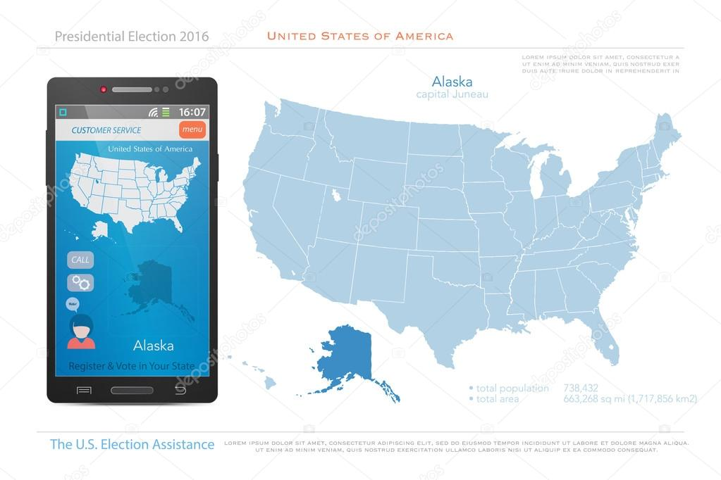 United States of America maps and Alaska state territory. vector USA ...