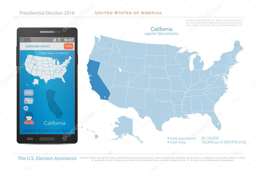 United States of America maps and California state territory. vector ...