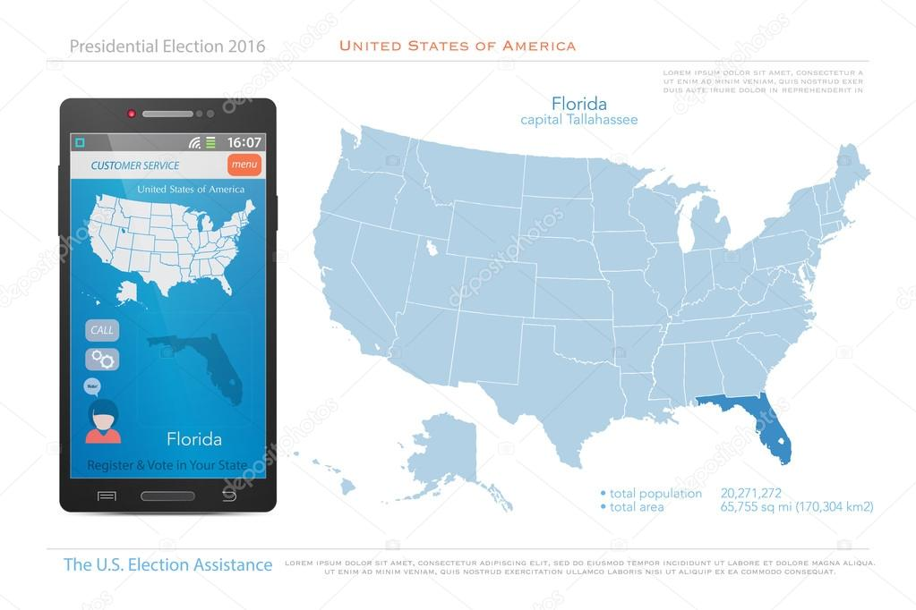 Political Map Of Florida.United States Of America Maps And Florida State Territory Vector