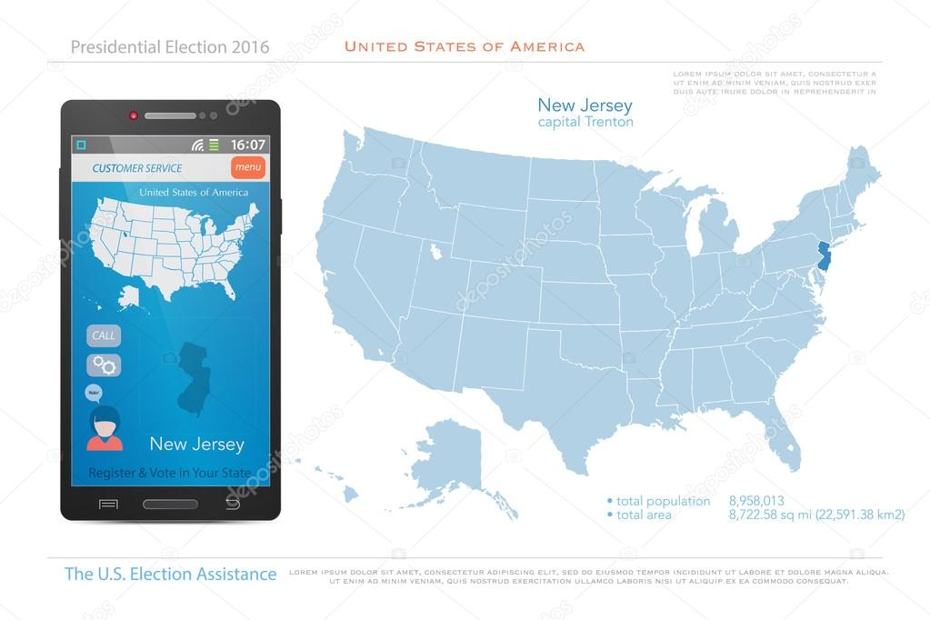 United States of America maps and New Jersey state territory. vector ...