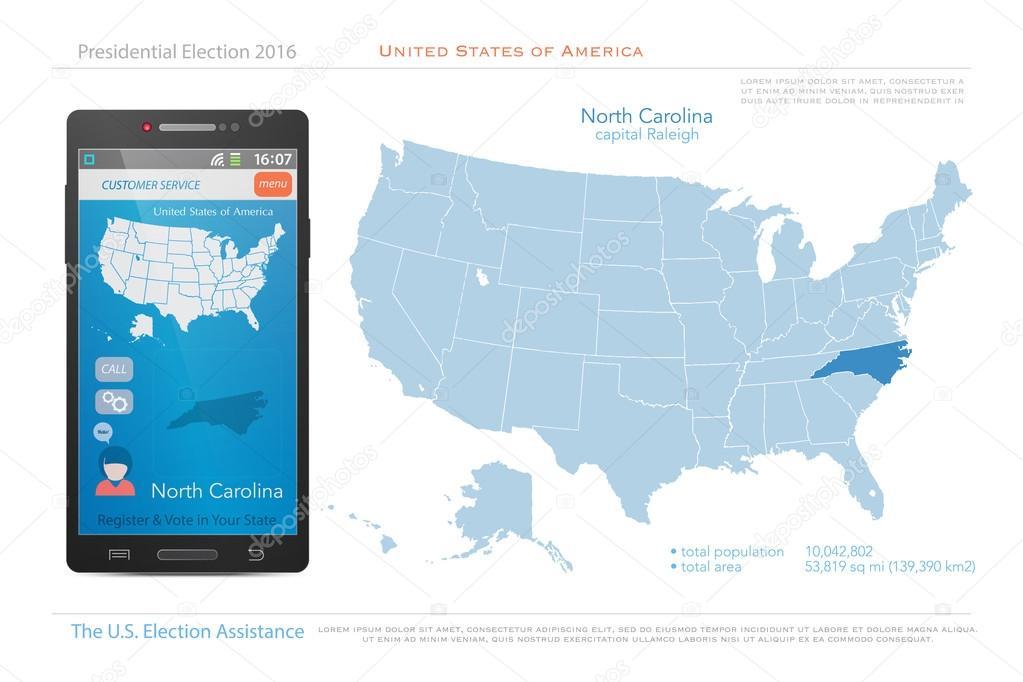 United States of America maps and North Carolina state territory