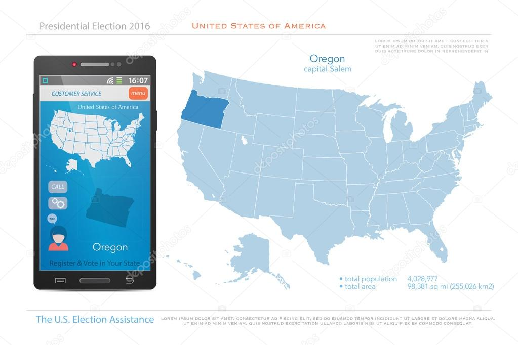 United States Of America Maps And Oregon State Territory Vector - Oregon map us