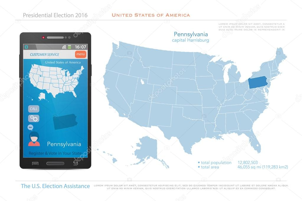 United States of America maps and Pennsylvania state territory ...