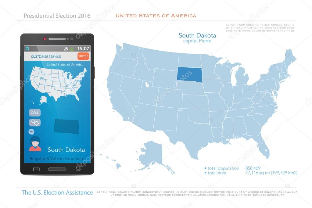 Political Map Of America 2016.United States Of America Maps And South Dakota State Territory