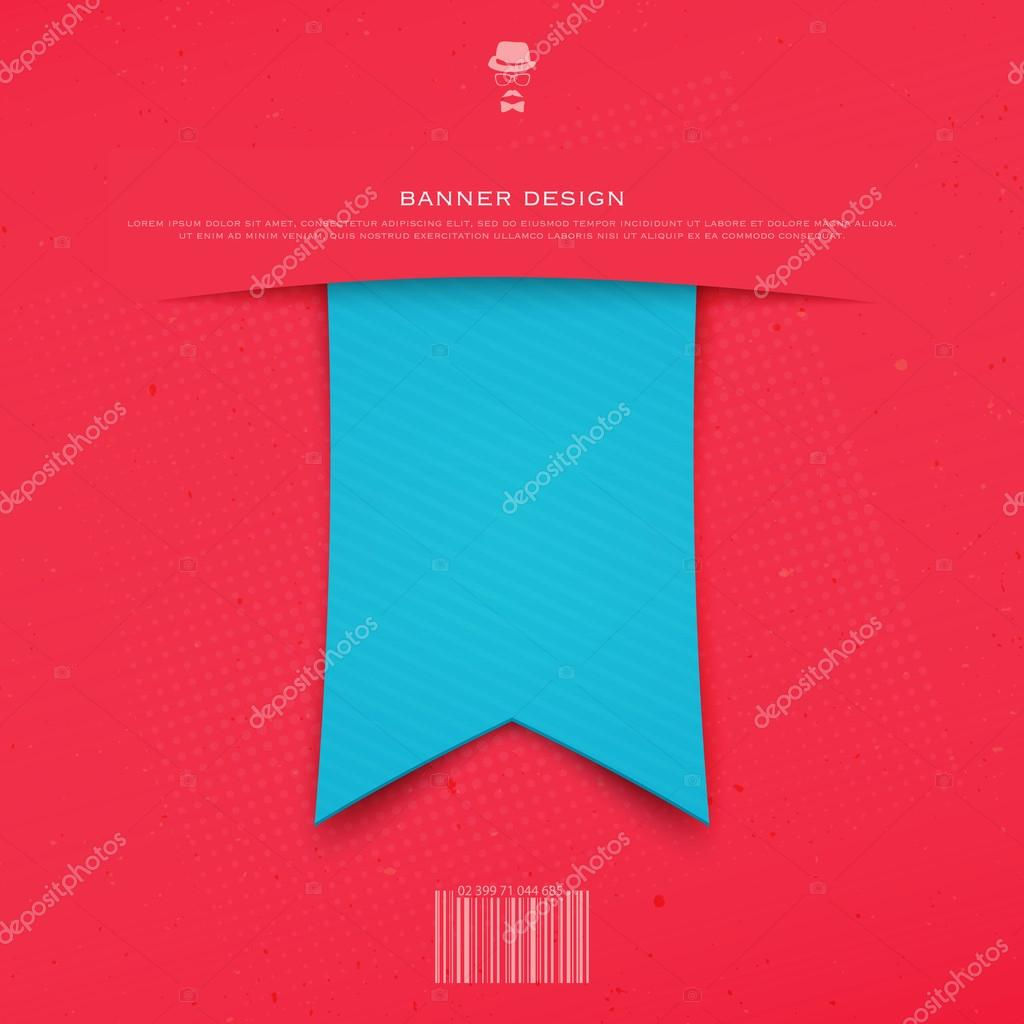blue ribbon bookmark isolated on red background. vector banner