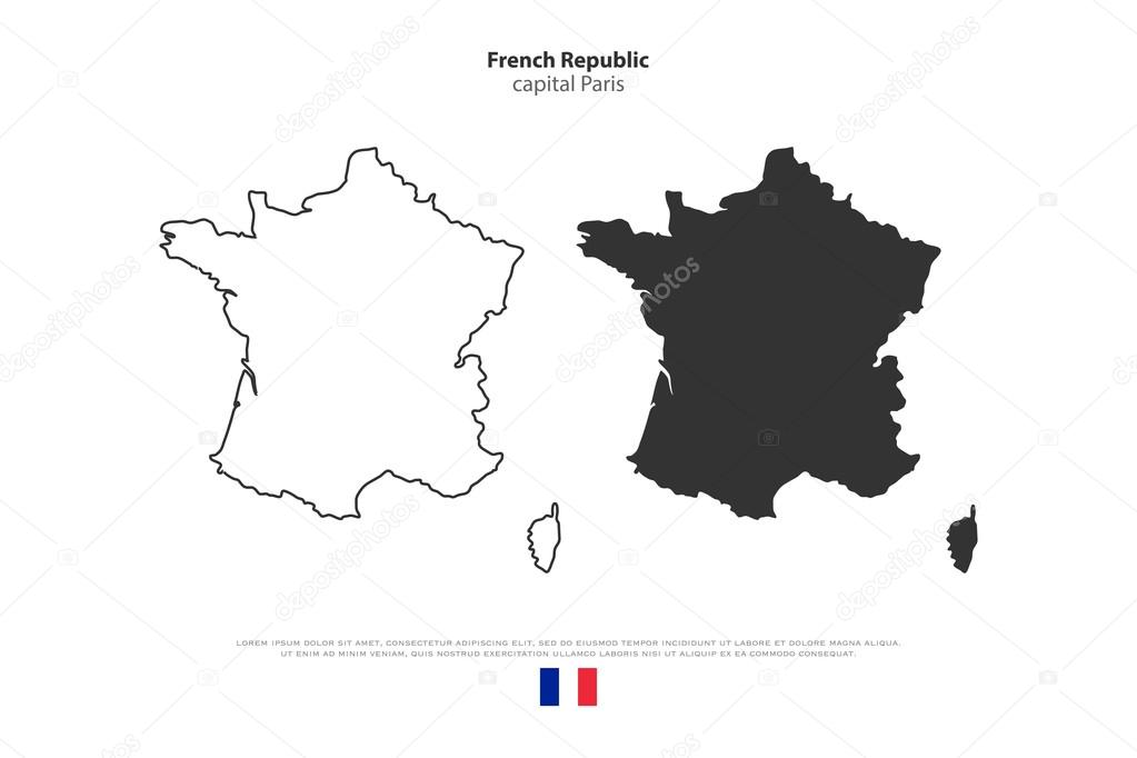 Political Outline Map Of France.French Republic Map Outline And Official Flag Icon Isolated On White