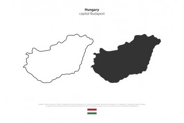 Republic of Hungary isolated map and official flag icons. vector Hungaian political maps illustration. Central Europe country geographic banner template. travel and business concept