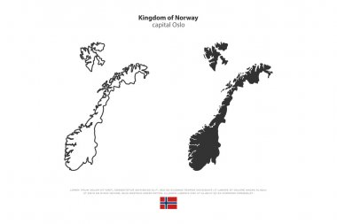 Kingdom of Norway isolated map and official flag icons. vector Norwegian political maps icon. Scandinavian Country geographic banner template. travel and business concept maps
