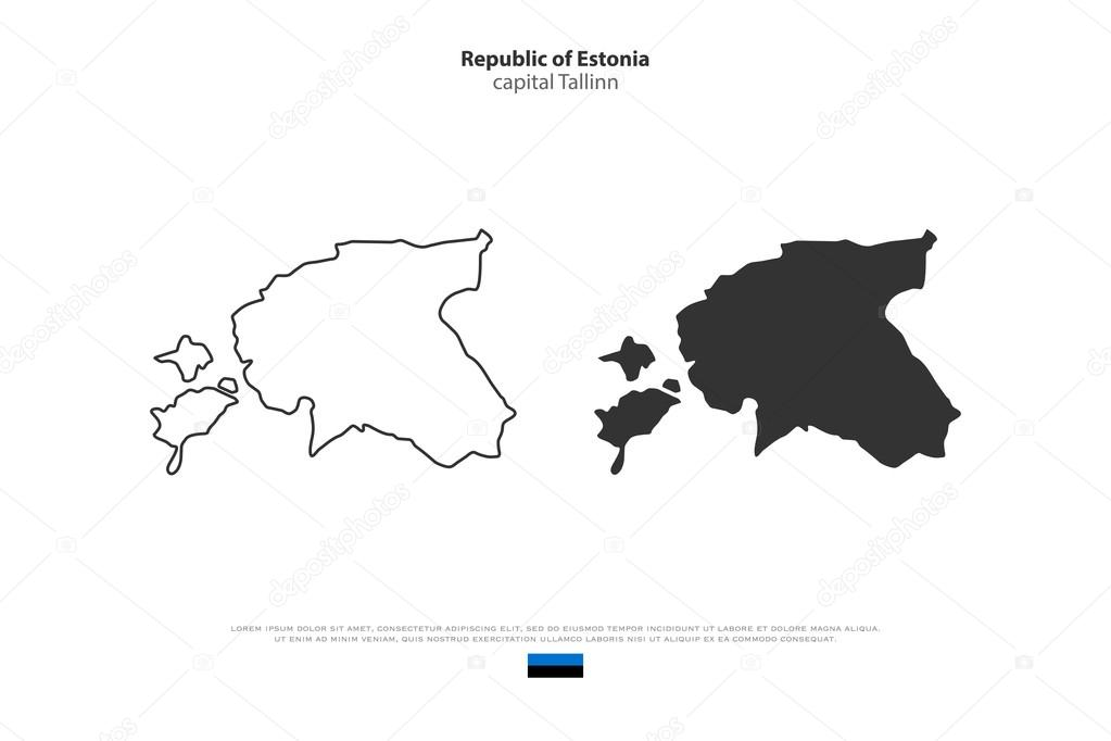 Republic of Estonia isolated map and official flag icons vector
