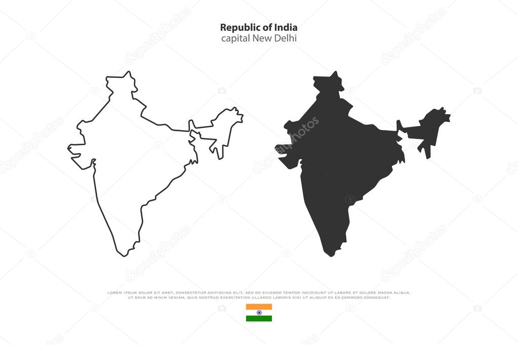 Republic of India isolated map and official