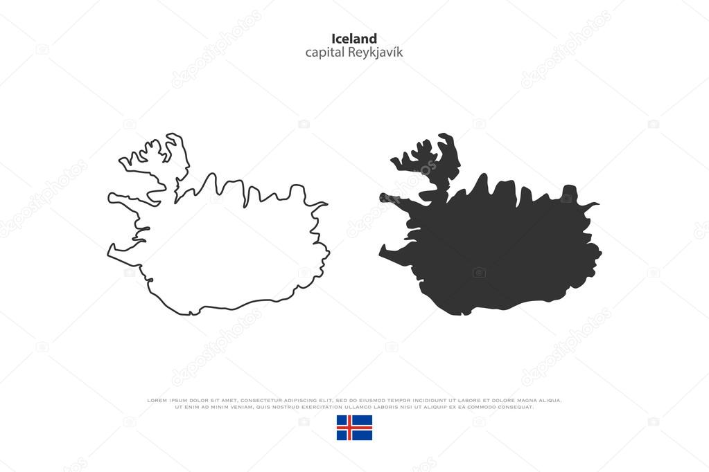 Republic of Iceland isolated map and official flag icons. vector ...