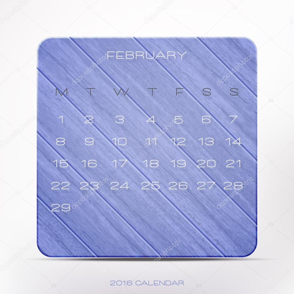 trendy 2016 year calendar over violet wooden frame isolated on