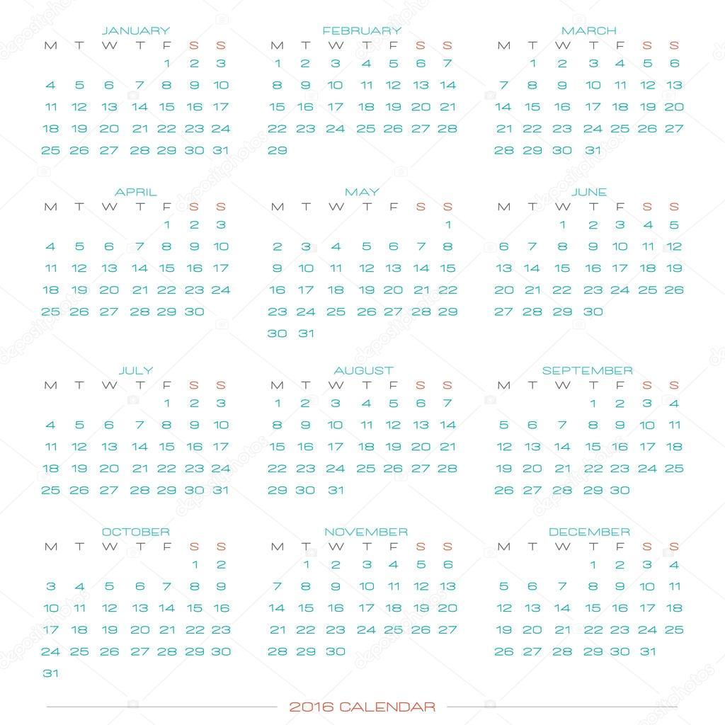 Resumen calendario para el año 2016 aislado sobre fondo blanco ...