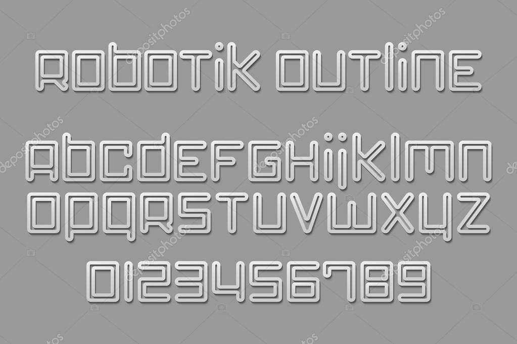 Set of stylish, 3d alphabet letters and numbers isolated on gray background. vector font