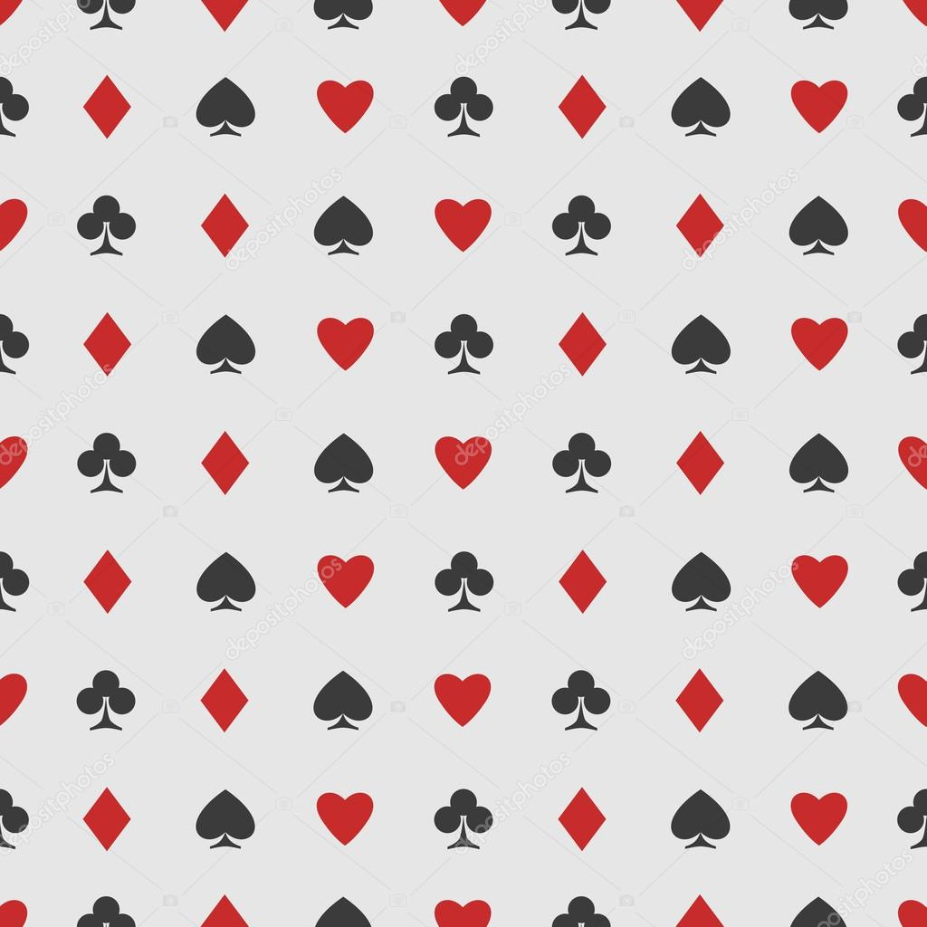 Seamless Pattern Of Playing Card Suits On White Vector