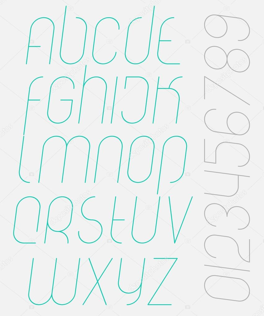 Set of stylish, isolated alphabet letters and numbers  vector